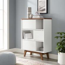 See Details - Render Three-Tier Display Storage Cabinet Stand in Walnut White