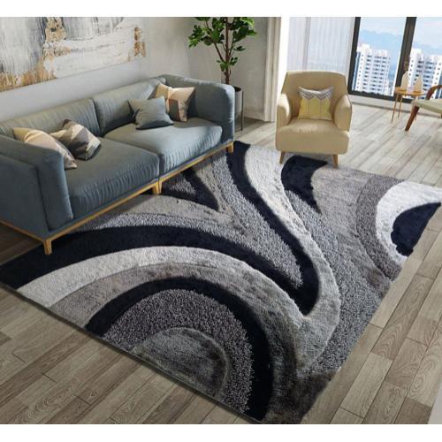 """Designer Shag S.V.D. 26 Area Rug by Rug Factory Plus - 7'6"""" x 10'3"""" / Black"""