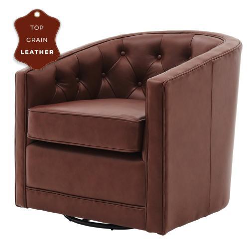 Walsh Top Grain Leather Swivel Accent Arm Chair, Garrett Brown