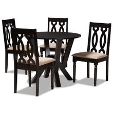 See Details - Baxton Studio Anise Modern and Contemporary Sand Fabric Upholstered and Dark Brown Finished Wood 5-Piece Dining Set