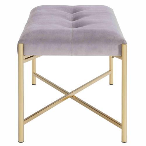 Stanford KD Velvet Fabric Bench, Serene Dark Gray/ Gold