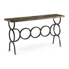Dark Driftwood Console with Circular Wrought Iron Base