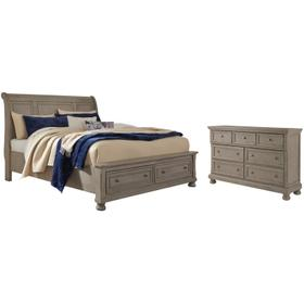 Queen Sleigh Bed With 2 Storage Drawers With Dresser With Dresser