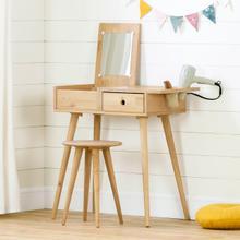 Sweedi - Solid Wood Vanity Table with Stool Set, Natural Wood