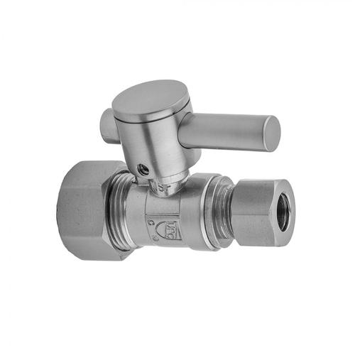 """Product Image - Unlacquered Brass - Quarter Turn Straight Pattern 5/8"""" O.D. Compression (Fits 1/2"""" Copper) x 1/2"""" O.D. Supply Valve with Contempo Lever Handle"""
