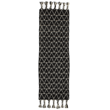 Black & White Kilim 2' x 6' Rug with Triangle Top Stitch and Braided Tassels