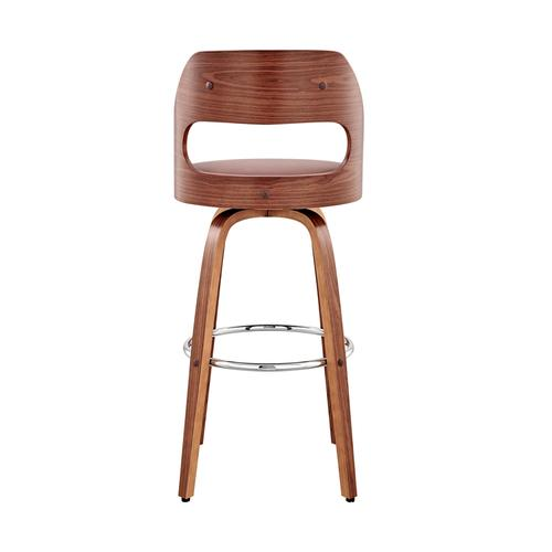 """Armen Living - Julius 30"""" Brown Faux Leather and Walnut Wood Bar Stool"""