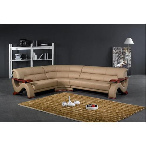 Divani Casa 2033 Modern Beige Leather Sectional Sofa