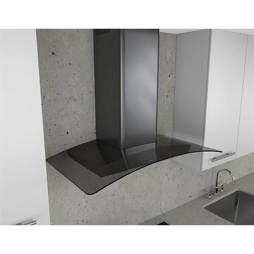 Zephyr - Essentials Series 36-In. Ravenna Wall Mount Range Hood in Black Stainless with Grey Glass