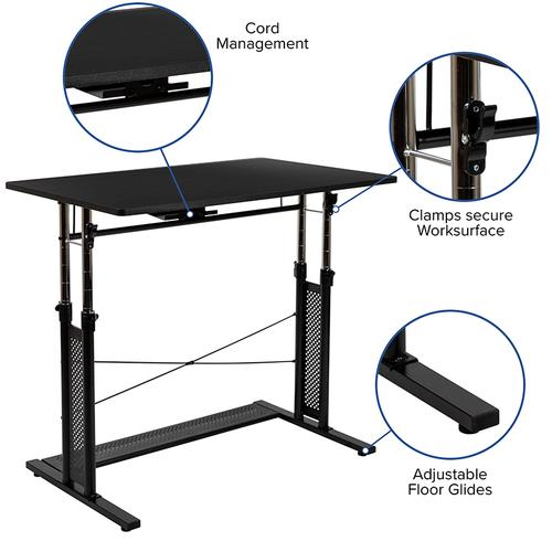Gallery - Work From Home Kit - Adjustable Computer Desk, Ergonomic Mesh Office Chair and Locking Mobile Filing Cabinet with Inset Handles