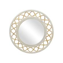 "Cressida 35"" Round Mirror, Natural/Aged White"