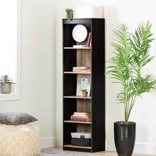 5-Shelf Narrow Bookcase - Weathered Oak and Rubbed Black