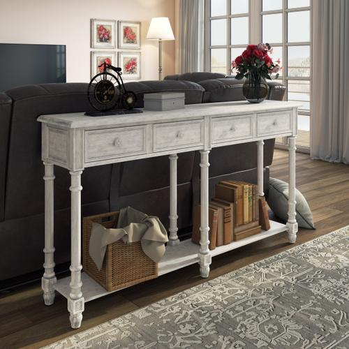 Two Drawer Tall Hall Console Table in Antique White