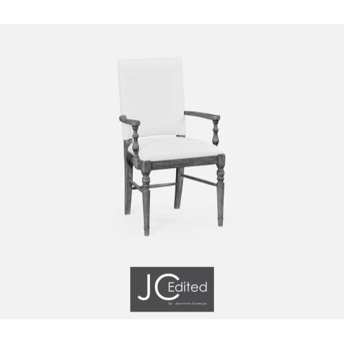 Antique dark grey upholstered armchair (COM)