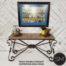 "Marble stone Sofa Table - Wrought Iron Travertine Console Table original designs - 59"" x 19"" Beveled / Cream Travertine / Dark Rust Brown"