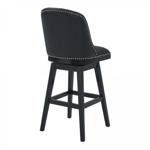 """Armen Living Journey 26"""" Counter Height Barstool in Black Wood Finish and Black Faux Leather"""