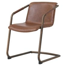 Indy PU Side Arm Chair Rubbed Gold Frame, Antique Cigar Brown