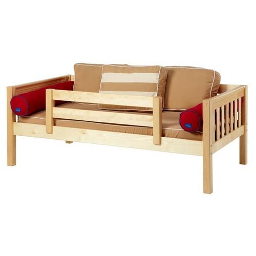 Daybed w/ Back and Front Safety Rails : Twin : Natural : Slat
