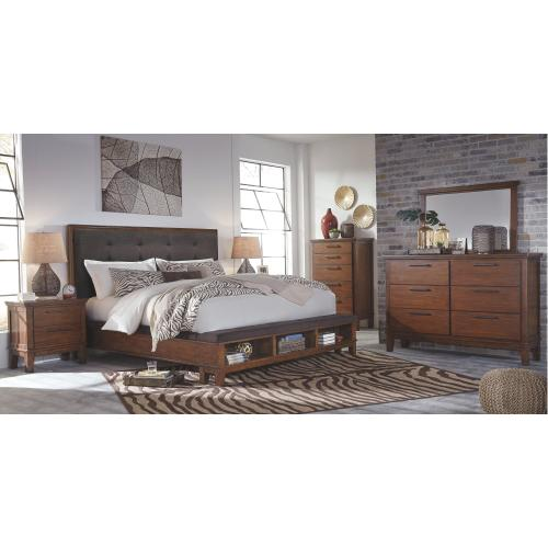Queen Size Upholstered Panel Bed with Storage