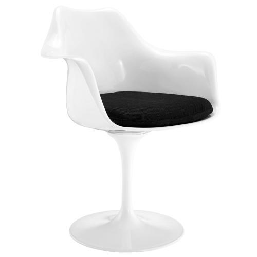 Lippa Dining Fabric Armchair in Black