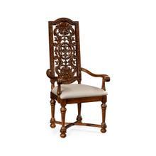 Jacobean style dark oak chair pierced back (Arm)