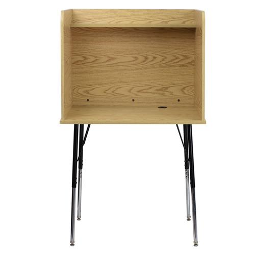 Flash Furniture - Study Carrel with Adjustable Legs and Top Shelf in Oak Finish