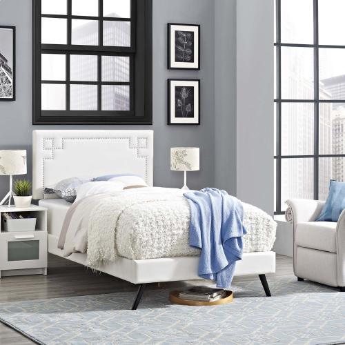 Modway - Ruthie Twin Vinyl Platform Bed with Round Splayed Legs in White