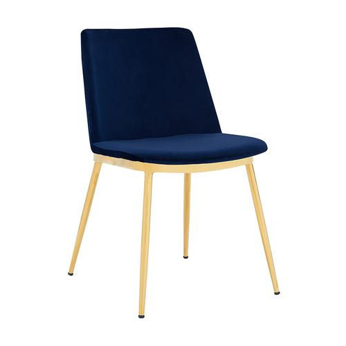 Messina Modern Blue Velvet and Gold Metal Leg Dining Room Chairs - Set of 2