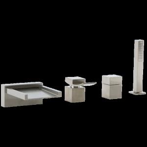 Quarto 4-Hole Deck Mount Open Chute Tub Filler Brushed Nickel Product Image