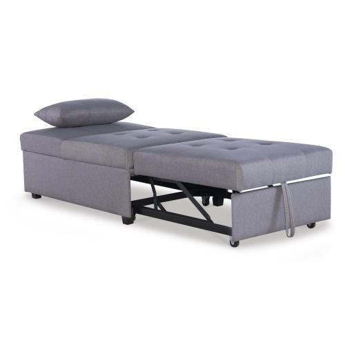 Tufted Fabric Convertible Twin Sofa Bed, Grey