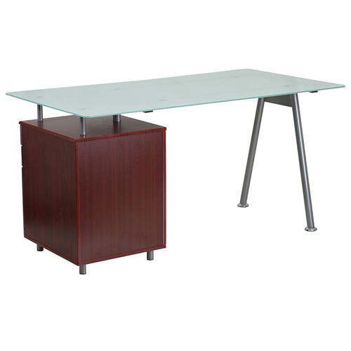 Flash Furniture - Glass Computer Desk with Mahogany Three Drawer Pedestal