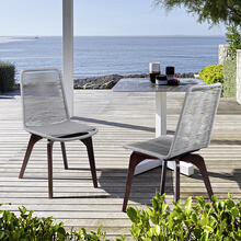 Island Outdoor Dark Eucalyptus Wood and Silver Rope Dining Chairs - Set of 2