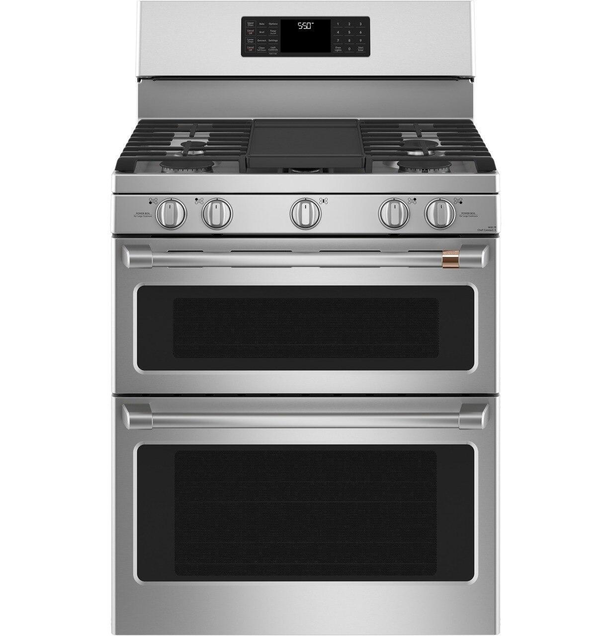 "Cafe AppliancesCafé™ 30"" Smart Free-Standing Gas Double-Oven Range With Convection"
