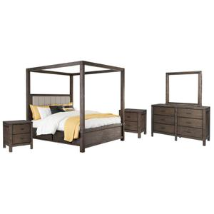 King Canopy Bed With 4 Storage Drawers With Mirrored Dresser and 2 Nightstands