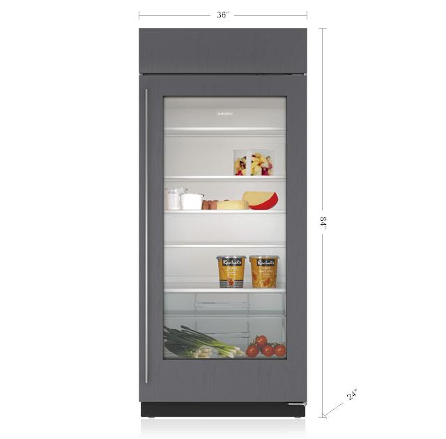 "Subzero36"" Classic Refrigerator With Glass Door - Panel Ready"