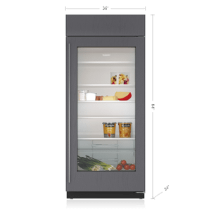 "Subzero36"" Classic Refrigerator with Glass Door - Panel Ready"