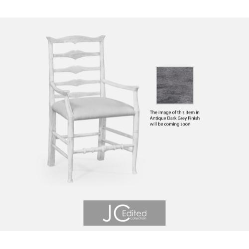 Antique dark grey ladder back armchair