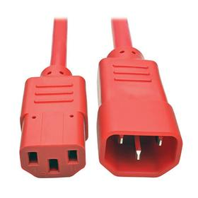 Heavy Duty PDU Power Cord, C13 to C14 - 15A, 250V, 14 AWG, 2 ft., Red