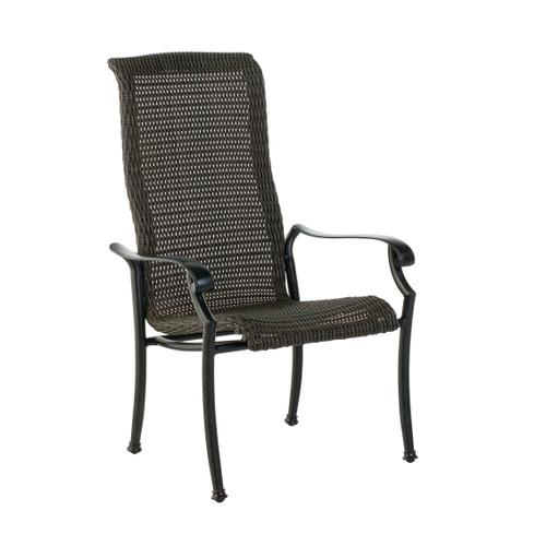 Biscayne High Back Wicker Cast Dining Arm Chair