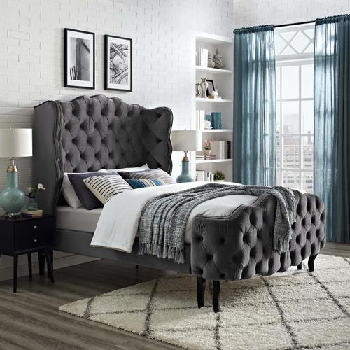 Modway - Violette Queen Tufted Wingback Performance Velvet Platform Bed in Gray