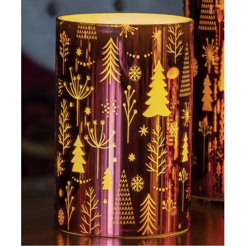 """6"""" Red Pine Trees LED Candle"""