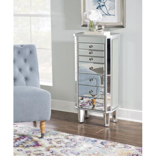 7-drawer Mirrored Jewelry Armoire, Silver Wood