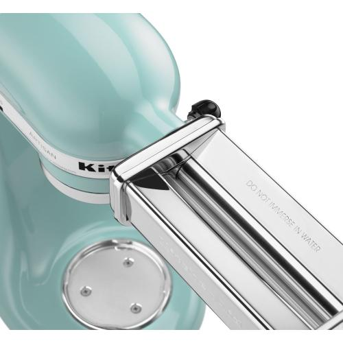 Value Bundle Artisan® Series 5 Quart Tilt-Head Stand Mixer with Fresh Prep Slicer/Shredder Attachment - Aqua Sky