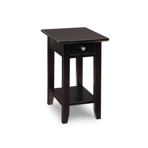 - Demilune Rectangle Chair Side Table with Shelf and 1 Drawer