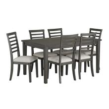 See Details - Baggio Dining Table and 6 Upholstered Chairs Set, Brown