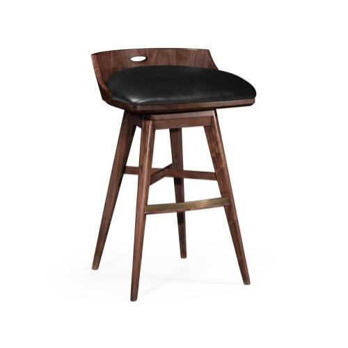 Bar Stool upholstered in Black Leather