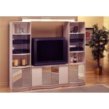 TV STAND - CHAMPAGNE/BRASS HOME THEATER / MIRROR DOORS