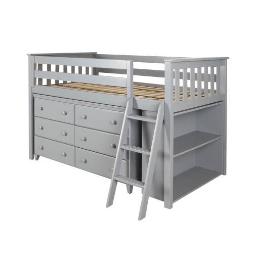 Twin Loft   Dresser   Bookcase Grey