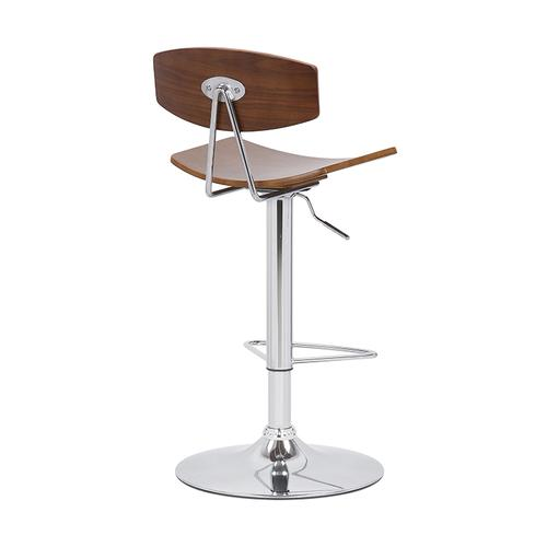 Jett Adjustable Swivel Barstool with Walnut and Chrome Finish and Grey Faux Leather
