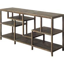 Wright I 16L x 66W Brown Wood Multi-Level Shelf Console Table